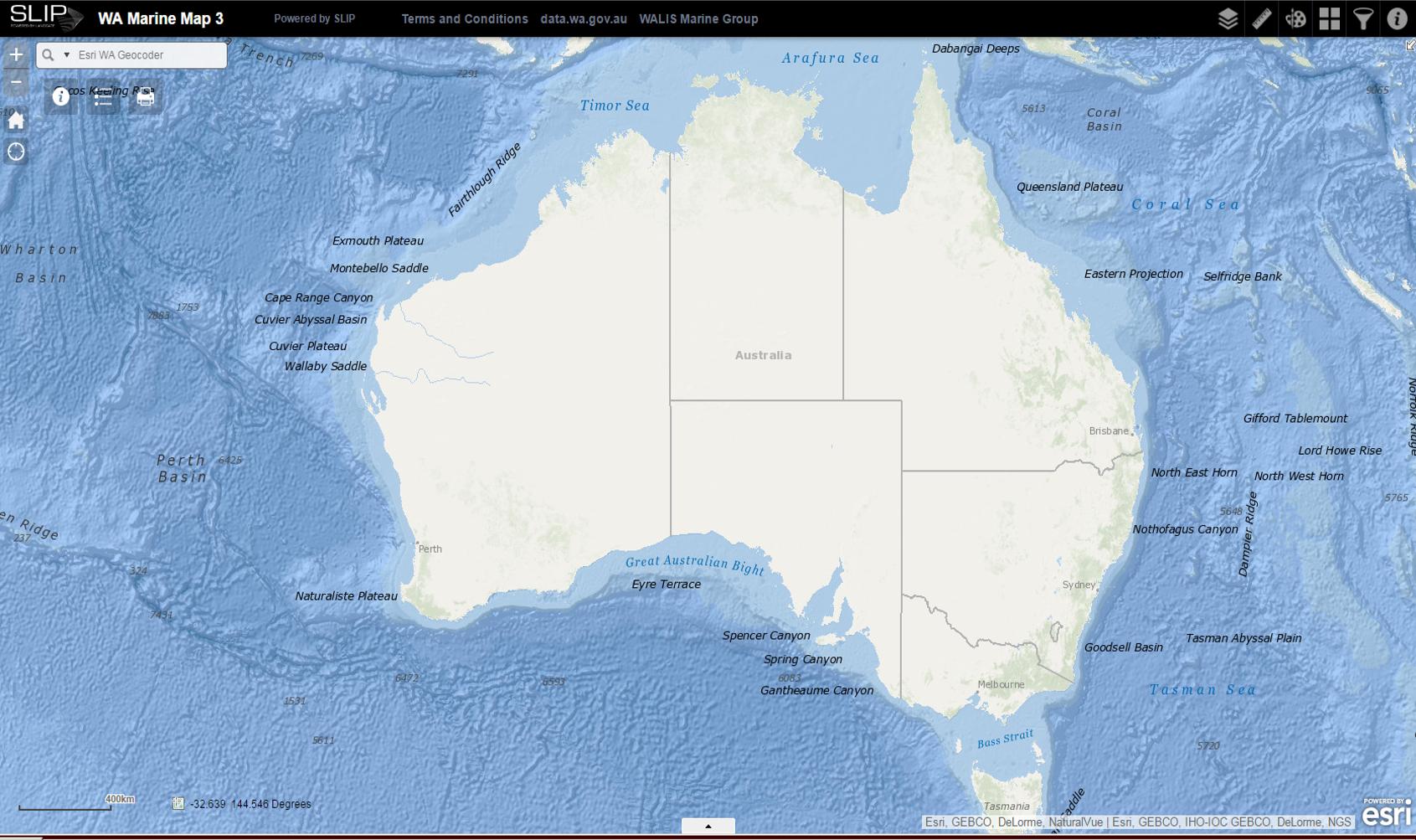 WA marine map